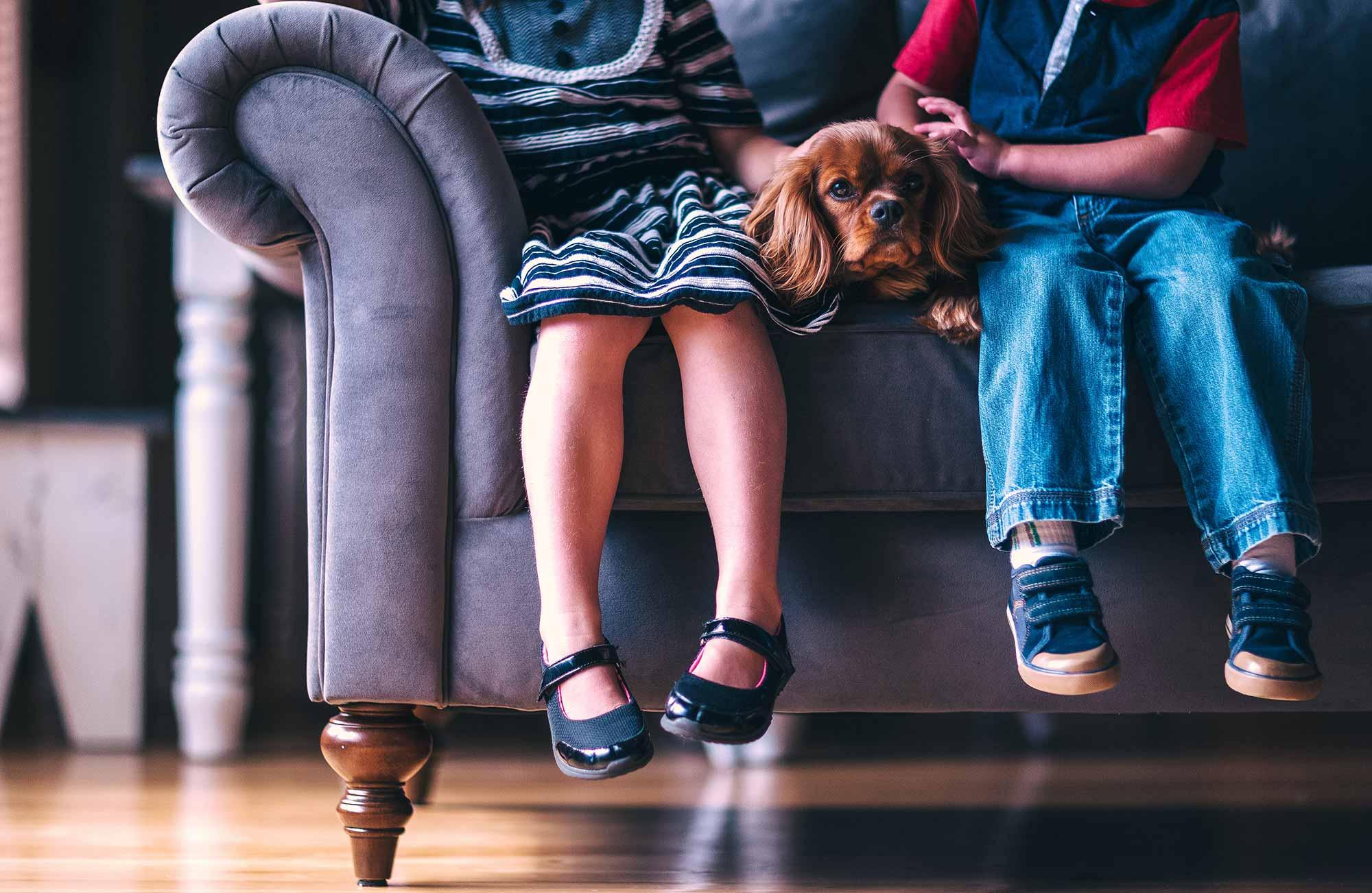 Kinder mit Hund auf dem Sofa